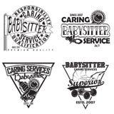 Set of vintge emblem design. Set of vintage logo graphic designs, print stamps, babysitter typography emblems, Creative design, Vector Royalty Free Stock Images