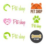 Set of vintage logo and logotype elements for pet Royalty Free Stock Photography