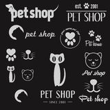 Set of vintage logo and logotype elements for pet Stock Images