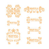 Set of vintage logo templates with floral elements stock illustration