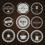 Set of vintage logos on brown background for coffee shops cafes Stock Image