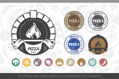 Set of vintage logos, lables, patterns and icons for Pizza resta Stock Photo
