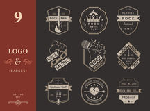 Set of vintage logos of rock music Stock Photography