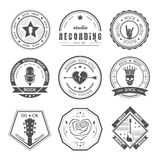 Set of vintage logos of rock music and rock and roll Stock Photo