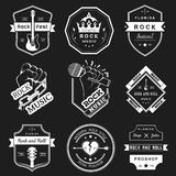 Set of vintage logos of rock music and rock and roll Royalty Free Stock Photos