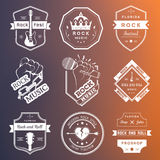 Set of vintage logos of rock music and rock and roll Royalty Free Stock Images
