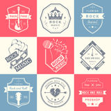 Set of vintage logos of rock music and rock and roll Stock Images