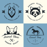 Set of Vintage Logos for Vet Clinic Stock Images