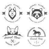 Set of Vintage Logos for Vet Clinic Royalty Free Stock Photography