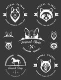 Set of Vintage Logos for Vet Clinic Stock Photos