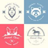 Set of Vintage Logos for Vet Clinic Royalty Free Stock Image