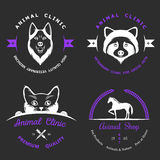 Set of Vintage Logos for Vet Clinic Stock Photo