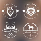 Set of Vintage Logos for Vet Clinic Royalty Free Stock Photos