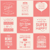 Set of vintage love typographic quotes Royalty Free Stock Image