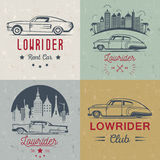 Set Vintage Lowrider Logo Badge and Sign Royalty Free Stock Image