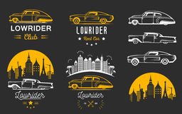 Set Vintage Lowrider Logo Badge and Sign Royalty Free Stock Photos