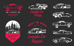 Set Vintage Lowrider Logo Badge and Sign Stock Image