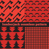 Set of vintage Lumberjack backgrounds, trendy Hipster Buffalo Check ,Tartan and Gingham Patterns Royalty Free Stock Photo