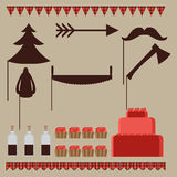 Set of vintage Lumberjack party elements, trendy Hipster Buffalo Check ,Tartan and Gingham Party Ideas Stock Photos