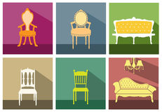 Set of vintage and luxury chair flat icon,Vector illustrations Royalty Free Stock Images