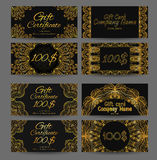 Set of vintage luxury gift certificates and vouchers Stock Photography