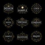 Set of vintage luxury logo templates. With flourishes elegant calligraphic ornamental design elements. Vector illustration stock illustration