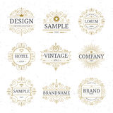 Set of vintage luxury logo templates Royalty Free Stock Photo