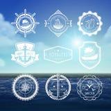 Set of vintage marine emblems Stock Photo