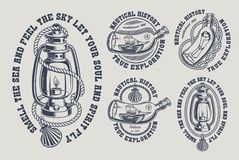 Set of vintage marine illustrations black and white vector illustration