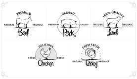 Set of Vintage Meat Labels Royalty Free Stock Photos