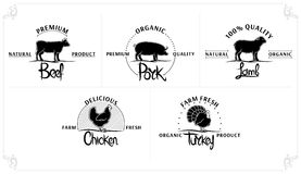 Set of Vintage Meat Labels Royalty Free Stock Images