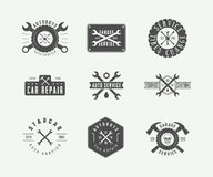 Set of vintage mechanic label, emblem, badge and logo. Vector illustration. Graphic Art Stock Image