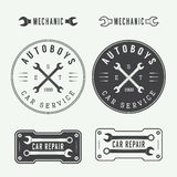 Set of vintage mechanic labels, emblems and logo. Vector illustr Royalty Free Stock Photography