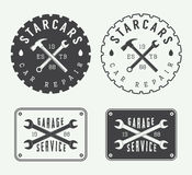 Set of vintage mechanic labels, emblems and logo. Royalty Free Stock Image