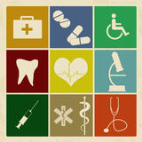 Set of vintage medical icons Stock Photos