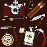 Set of vintage men's accessories Royalty Free Stock Image