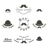 Set of vintage men's store logo, brend with text Stock Photography