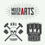 Set of vintage mixed martial arts logo, badges and emblems. Royalty Free Stock Images