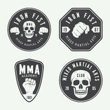 Set of vintage mixed martial arts logo, badges and emblems. Royalty Free Stock Photos
