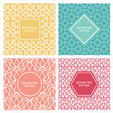 Set of vintage mono line seamless background. Royalty Free Stock Image