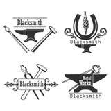Set of vintage monochrome blacksmith labels and Stock Image