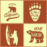 Set of vintage monochrome california emblems Stock Photos