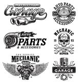 Set of vintage monochrome car repair emblems. Set of vintage monochrome auto repair service templates of emblems, labels, badges and logos. Isolated on white Royalty Free Stock Photography