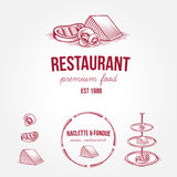 Set of vintage monochrome restaurant labels and design elements Stock Photography