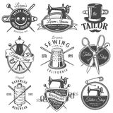 Set of vintage monochrome tailor emblems. Designer toolkit. Perfect for tailor, sewing companies and tailor shops logo, label, emblems and other signs Royalty Free Stock Photography
