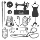 Set of vintage monochrome tailor tools. Designer toolkit. Perfect for logo, label, emblems and other signs Royalty Free Stock Photography