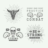 Set of vintage motivational and inspirational fighting poster Stock Photo