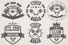 Set of Vintage Motor Club Signs and Label Stock Photo