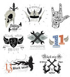 Set of vintage motorcycle badges and design elements Stock Photo