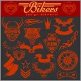 Set of vintage motorcycle design elements for emblems and labels Stock Images